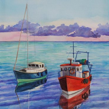 acryl acrullic acrylic painting irish artist art boats sunset sea