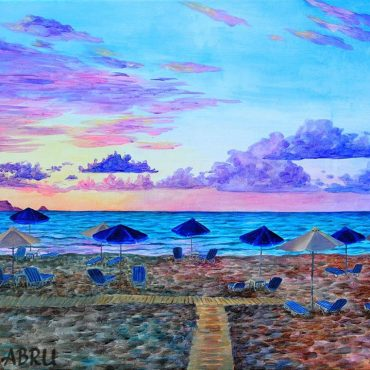 acryl acryllic painting art irish artist sunset beach sea