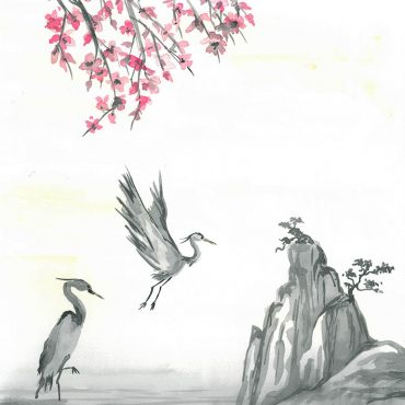 art sumie painting watercolor herons japan