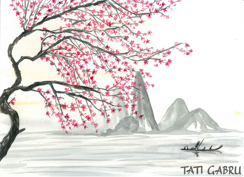 sumie japanese art watercolor painting sakura japan gallery