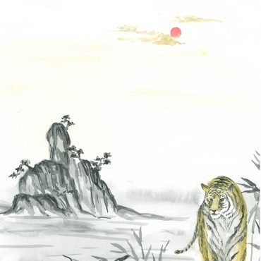 sumie water color painting japan tiger art gallery